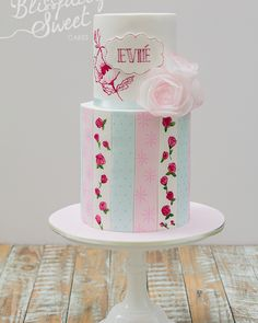 Delicate Painted Patterned Striped Birthday Cake