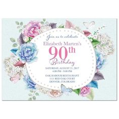90th birthday party invitations templates free party ideas watercolor floral rose peony butterfly 90th birthday invitation this pretty floral frame 90th filmwisefo