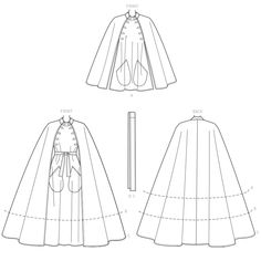 Coat Patterns, Clothing Patterns, Sewing Blogs, Sewing Projects, Sewing Ideas, Flat Sketches, Cape Pattern, Fashion Design Sketches, Fashion Designers