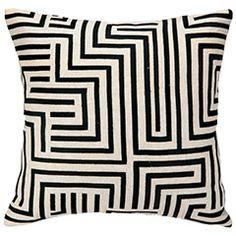 Trina Turk Mira Mesa Black Embroidered Pillow PH24TT86AC20SQ