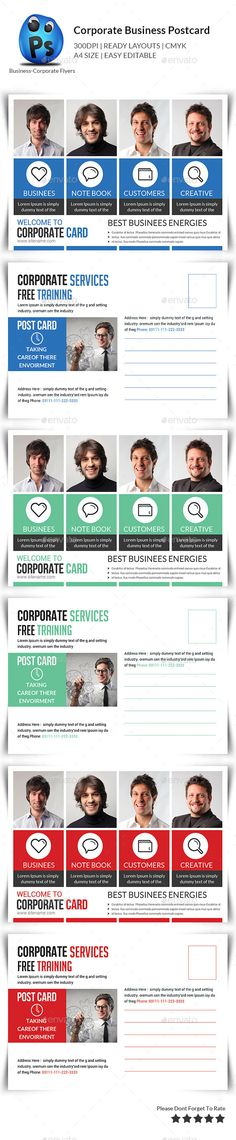 Buy Corporate Business Postcards by afjamaal on GraphicRiver. This Postcard is made in photoshop the files included are help file and photoshop psd's. Corporate Flyer, Corporate Business, Postcard Template, Postcard Design, Business Postcards, Insert Image, Seo Company, Free Training, Print Templates