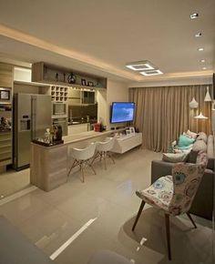 decoração em tons neutros para cozinha americana com sala de estar #cozinhaintegrada #cozinhaplanejada
