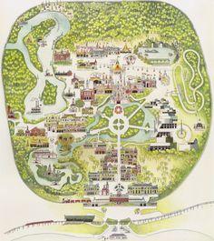 Walt Disney World - The First Decade in Maps Disney Map, Disney World Map, Disneyland Map, Disney World Florida, Disney Posters, Disney Theme, Disney Parks, Disneyland History, Disney Vacations