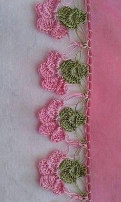Mekik kelebek oya El ii t Crochet Needlework and Crochet Edging Patterns, Crochet Lace Edging, Crochet Motifs, Crochet Borders, Crochet Trim, Love Crochet, Crochet Designs, Crochet Doilies, Crochet Flowers