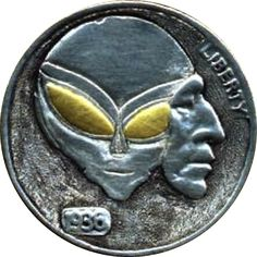 JAMES OLIVENCIA HOBO NICKEL - SCI FI - 1936 BUFFALO NICKEL Hobo Nickel, Coin Art, Coin Collecting, Buffalo, Coins, Sci Fi, Carving, Outer Space, Collections