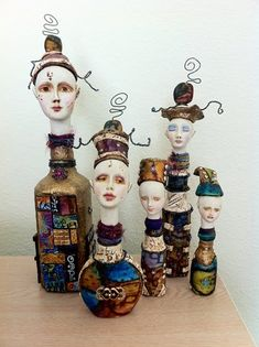 """I have been working on a group of dolls I am calling """"Aladdin's Genies"""", since they all originate with a glass bottle. I am enjoying playin..."""