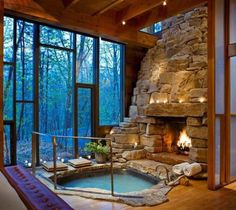 stunning indoor fireplace and hot tub