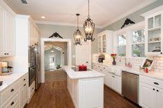White kitchen - narrow kitchen - wall color - hgtv fixer upper - dream home Fixer Upper Hgtv, Fixer Upper Kitchen, Narrow Kitchen, Kitchen Wall Colors, Kitchen Paint, Kitchen Redo, New Kitchen, Kitchen Ideas, Kitchen Photos