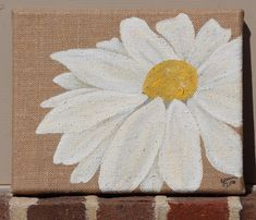 White Daisy on Burlap: Original Acrylic Painting on Stretched Burlap Canvas, 8x10 inches