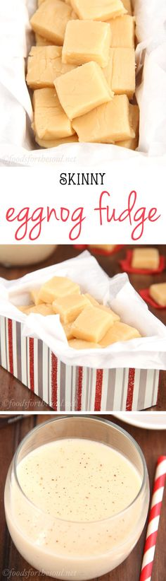 Skinny Eggnog Fudge -- only 4 ingredients & no candy thermometer necessary! Indulge without the guilt!