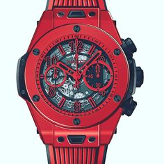 Ceramic in red? Yes, it has been patented by Hublot and the firm says it is stronger than the rest. They have applied it to this Big Bang Unico Red Magic ⌚ ¿Cerámica en color rojo? Pues sí, la ha patentado Hublot y dice que es más dura que el resto. La firma la ha aplicado a este Big Bang Unico Red Magic