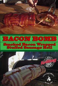 Today we will be making a Bacon Bomb: a delectable recipe with an infinite potential for adjustments, all wrapped in bacon. Pork Sausage Recipes, Beef Bacon, Bacon Sausage, Sausage Rolls, Pellet Grill Recipes, Smoker Recipes, Rib Recipes, Grilling Recipes, Breakfast Wraps
