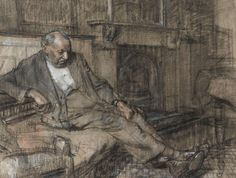 Ruskin Spear, R.A. (1911-1990). Old Man on Couch, circa 1932, pencil, charcoal and coloured chalks, 25.4 x 33 cm