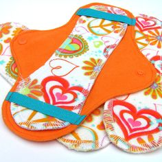 JazzyPads Cloth Menstrual Pad Set (Mini Orange Peace n Love) by Tamarack Days For Girls, Period Pads, Samaritan's Purse, Fabric Bowls, Menstrual Pads, Cloth Pads, Cloth Diapers, Sewing Clothes, Peace And Love