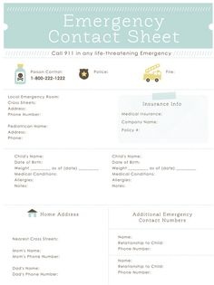 Emergency Contact Sheet -- love this.. created a modified version for our family binder