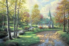 Masterpieces of colorful art. Enjoy there peaceful sceneries of small country chapels. #art #paint #jigsaw #puzzle