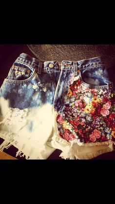 Half Floral high waisted shorts