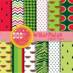 Watermelon digital paper juicy watermelon by GemmedSnail on Etsy, $4.80 #watermelon #paper