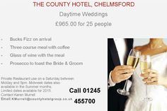 County Hotel Chelmsford @countyhotel: Not everyone wants a big wedding day. This is perfect for small wedding groups. http://t.co/DY4BAGHtrB