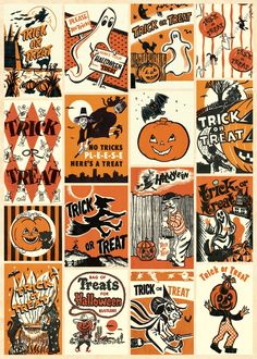 Cavallini & Co. Trick or Treat Wrapping Paper Sheet from Elizabeth's Embellishments