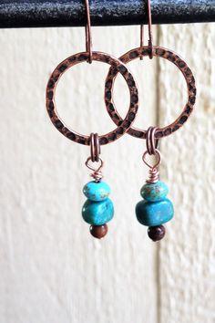 dangle copper turquoise hoop earrings by Urockitjewels on Etsy