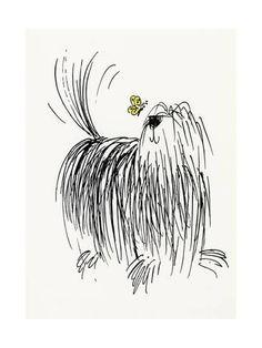 Shaggy Dog with Butterfly--Art Print Animal Drawings, Art Drawings, Pencil Drawings, Scribble Art, Dog Illustration, Butterfly Illustration, Butterfly Art, Dog Art, Doodle Art