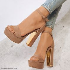 MY REVENGE #lolashoetique #heels #highheels #platforms #nude #gold #denim #sotd #ootd #fashion #trend #new #sexy #chic #hot
