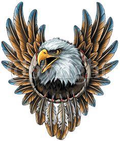 Horrible Eagle Dream Catcher Tattoo Design For Girls