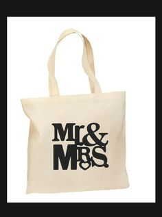 Wedding mr & mrs  canvas tote bag natural color printed tote blk #Unbranded