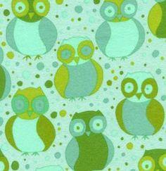 Della LITTLE OWLS BLOSSOM Grass Green Plush FLANNEL SALE  by spiceberrycottage, $7.95