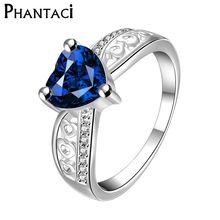 Feminino Anel de Casamento de Luxo Com Cristal CZ Banhado A Prata Coração Azul Strass Anéis de Noivado Para As Mulheres Presentes(China (Mainland))