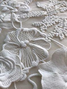 GAYCHUN Cotton Flower wedding dress embroidery lace fabric GAYCHUN Off White Cotton Flower wedding dress embroidery Bead Embroidery Patterns, Embroidery Hoop Art, Lace Patterns, White Embroidery, Embroidery Dress, Ribbon Embroidery, Embroidery Stitches, Embroidery For Beginners, Embroidery Techniques