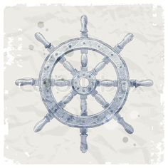 ship sketch picture | Stock vector of 'Hand drawn vector illustration - ship steering wheel'