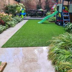 This family garden is much easy to manage with an artificial grass makeover.