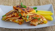BBQ Chicken & Mango Quesadillas (can use pineapple, peaches or pears instead of mango).