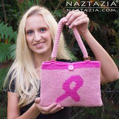 Pink Ribbon Tapestry Crochet Handbag by Donna Wolfe from Naztazia. Free pattern and video tutorial.