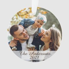 Modern Custom Photo Double Sided Ornament - tap to personalize and get yours #Ornament #christmas, #holiday, #ornament, #photo, #family,