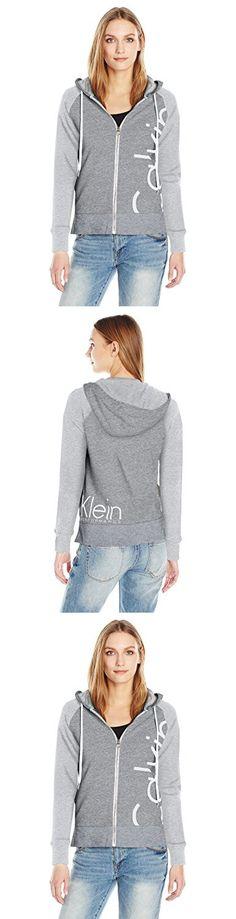 2ac3d0191a2d9 Calvin Klein Performance Women s Plus Size Solid Cut Off Logo Zip Front  Jacket