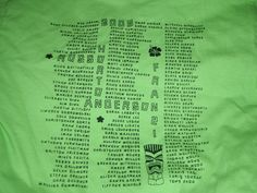 Class shirt with student and teacher names.
