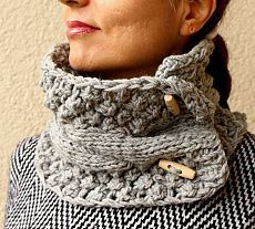 Gray Grey Scarf Knit Cowl Cable Chunky Neck Warmer With Buttons