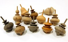 Japanese spinning tops: Such a variety of shapes, and I love the grain of the wood.