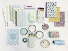New journals, candles, matches and soaps