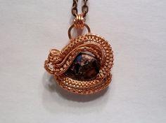 Purple Sea Sediment Jasper Gemstone Wire Wrapped Pendant Handcrafted #Handmade #Pendant