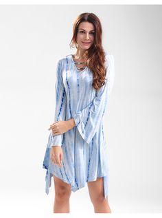 Blue Tie Dye Short Dress