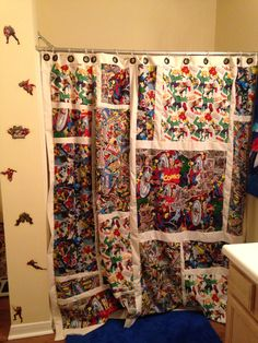 Blue Red Spider Web Boy Man Shower Curtain By TablishedWorks, $63.00 |  Unique Shower Curtains | Pinterest | Man Shower, Superhero Bathroom And  Truck Room