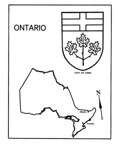 Ontario map coloring page  Geography Homeschool  Pinterest