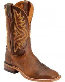Tony Lama Tan Worn Goat Leather Americana Cowboy Boots - Square Toe