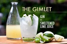 Gimlet - here it is!  Combine about two parts gin with one part Rose's Sweetened Lime Juice over ice. If you can't find or prefer not to use Rose's, you can also make your own. Garnish with a lime wedge.