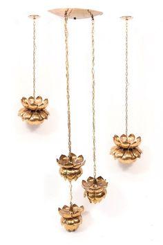 5 Brass Lotus Lamps | red modern furniture