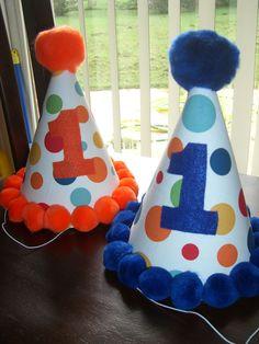 Birthday Hat Infant Toddler Boys First 1st Lolli Dot Blue Or Orange